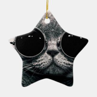 cool cat kool kat with shades ceramic star decoration