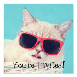 Cool Cat Party Invites Aqua Blue