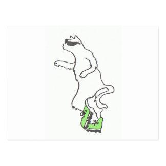 cool cat rollerblade green cap postcard