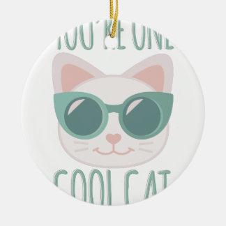 Cool Cat Round Ceramic Decoration
