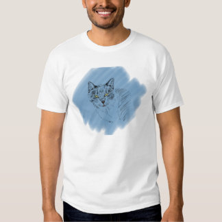 Cool Cat Scribble on Blue Background Tees