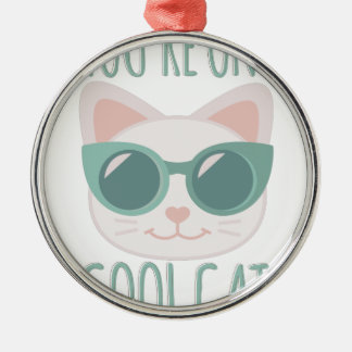 Cool Cat Silver-Colored Round Decoration