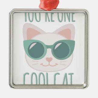 Cool Cat Silver-Colored Square Decoration