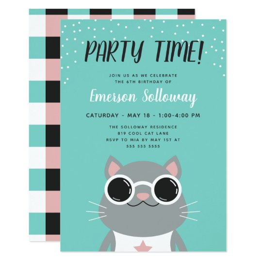 Cool Cat Turquoise Kids Birthday Party Card