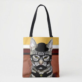 Cool Cat With Mustache Tote Bag