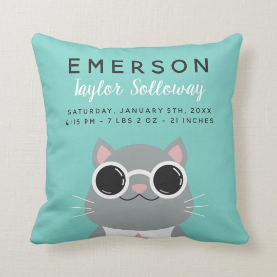 Cool Cat with Sunglasses Birth Stats Cushion