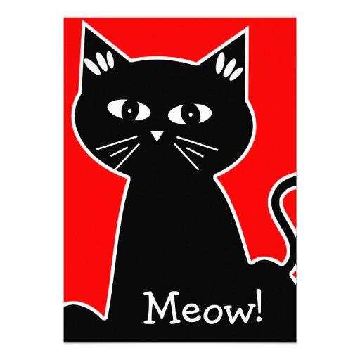 Cool Cats Birthday Party - Black Cartoon Cat Custom Announcements