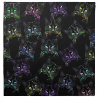 Cool Cats on Black! Multi-colored Cats Napkin