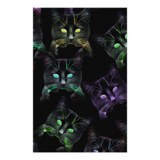 Cool Cats on Black! Multi-colored Cats Stationery