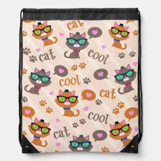 Cool Cats Pattern Hipster Drawstring Backpack