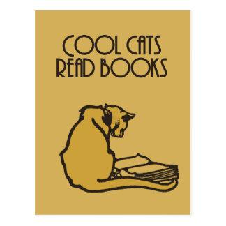Cool cats read books retro style postcard