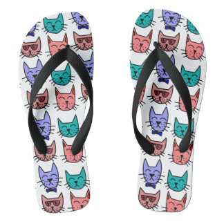 Cool Cats with sunglasses bow ties on Custom Color Thongs