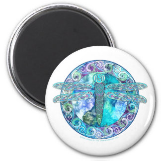 Cool Celtic Dragonfly 6 Cm Round Magnet