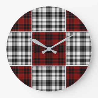 Cool Checkered Plaid Large Clock