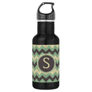 Cool Chevron Pattern Monogrammed Blue 532 Ml Water Bottle