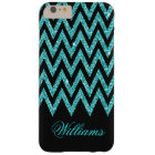 Cool chevron zigzag peacock blue  faux glitter barely there iPhone 6 plus case