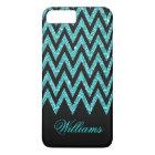 Cool chevron zigzag peacock blue  faux glitter iPhone 8 plus/7 plus case