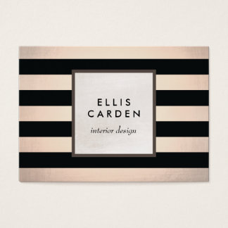 Cool Chic Black and Copper Stripes Designer Business Card