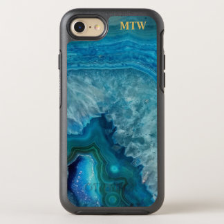 Cool Chic Blue Agate Geode Faux Gold Monogram OtterBox Symmetry iPhone 8/7 Case
