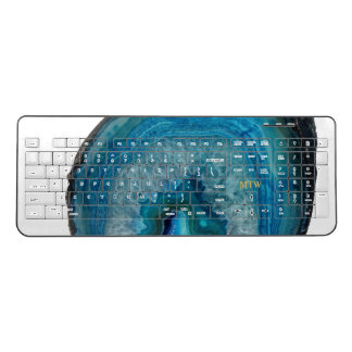 Cool Chic Blue Agate Geode Faux Gold Monogram Wireless Keyboard