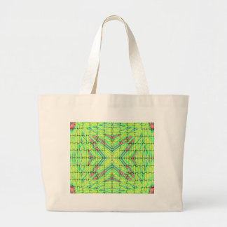 Cool Chic Lime Green X Marks the Spot Large Tote Bag