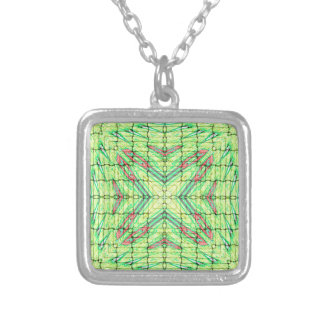 Cool Chic Lime Green X Marks the Spot Silver Plated Necklace