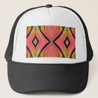 Cool Chic Peach Pink Kaleidoscope Pattern Trucker Hat