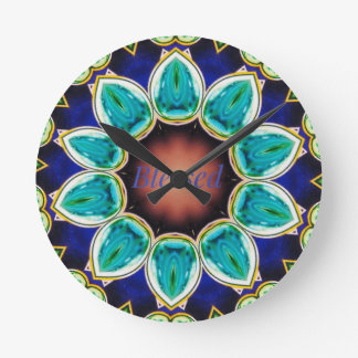 Cool Chic Turquoise Rose 'Blessed' Mandala Clock