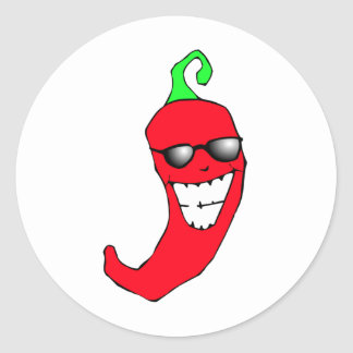 Cool Chili Pepper Round Sticker