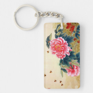 Cool chinese classic watercolor pink flower bee rectangle acrylic key chains