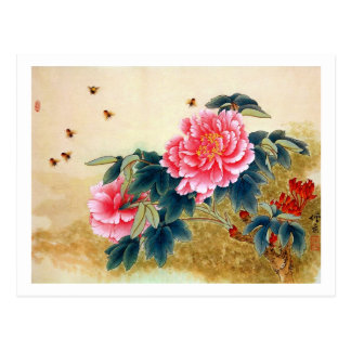 Cool chinese classic watercolor pink flower bee postcard