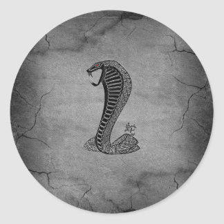 Cool Chinese cobra black and  metal effects Classic Round Sticker
