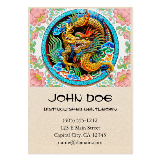 Cool chinese colourful dragon paint lotus flower business card templates