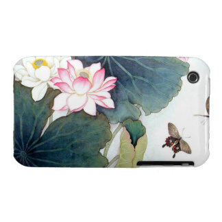 cool chinese lotus leaf pink flower butterfly art iPhone 3 cases