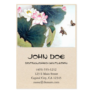 cool chinese lotus leaf pink flower butterfly art pack of chubby business cards