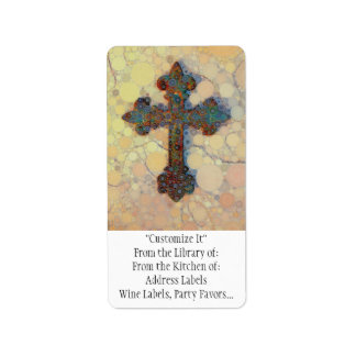 Cool Christian Cross Circle Mosaic Pattern Address Label