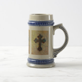 Cool Christian Cross Circle Mosaic Pattern Beer Stein