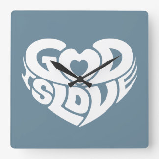 Cool Christian God Is Love Bible Verse Scripture Square Wall Clock