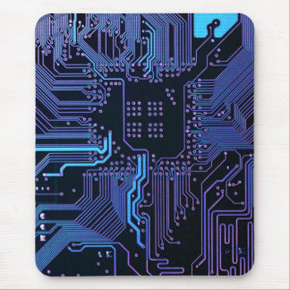 Cool Circuit Board Computer Blue Purple Mouse Pad