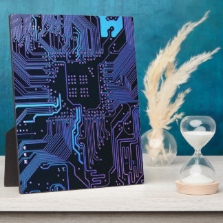 Cool Circuit Board Computer Blue Purple Plaque
