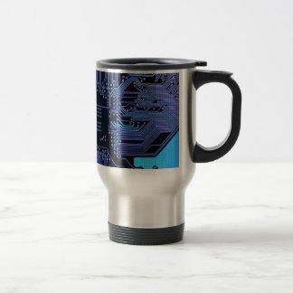 Cool Circuit Board Computer Blue Purple Travel Mug