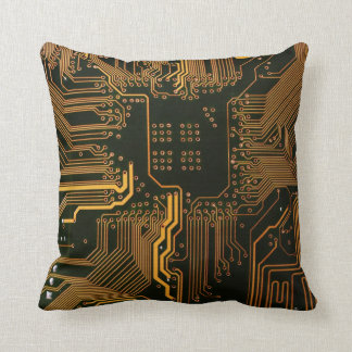 Cool Circuit Board Computer copper and black Cushion