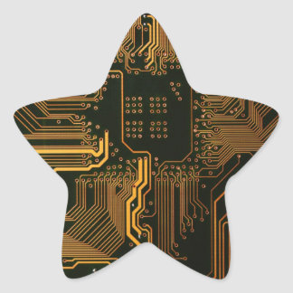 Cool Circuit Board Computer copper and black Star Sticker