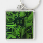 Cool Circuit Board Computer Green Silver-Colored Square Key Ring