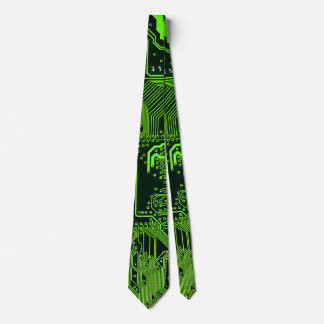 Cool Circuit Board Computer Green Tie