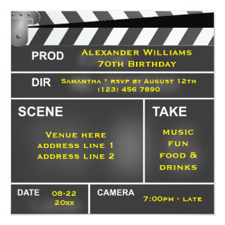 Cool Clapper Board 70th Birthday Card