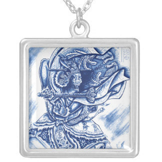 Cool Classic Japanese Demon tattoo Square Pendant Necklace