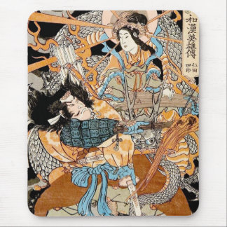 Cool classic traditional japanese woodprint art mouse pad