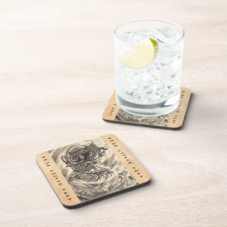 Cool classic vintage japanese demon ink tattoo drink coaster