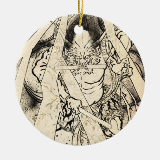 Cool classic vintage japanese demon ink tattoo round ceramic decoration